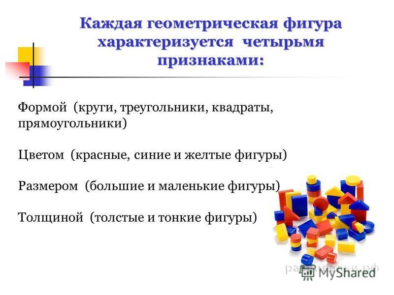 Формой (круги, треугольники, квадраты, прямоугольники) Цветом (красные, синие и желтые фигуры) Размером (большие и маленькие фигуры) Толщиной (толстые и тонкие фигуры) Каждая геометрическая фигура характеризуется четырьмя признаками: