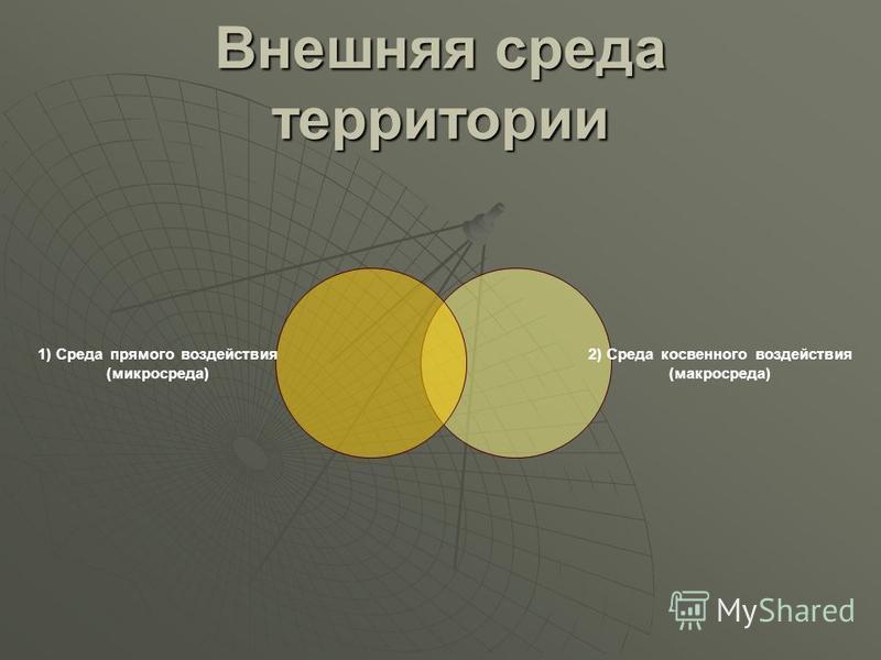 Внешняя среда территории 1) Среда прямого воздействия (микросреда) 2) Среда косвенного воздействия (макросреда)