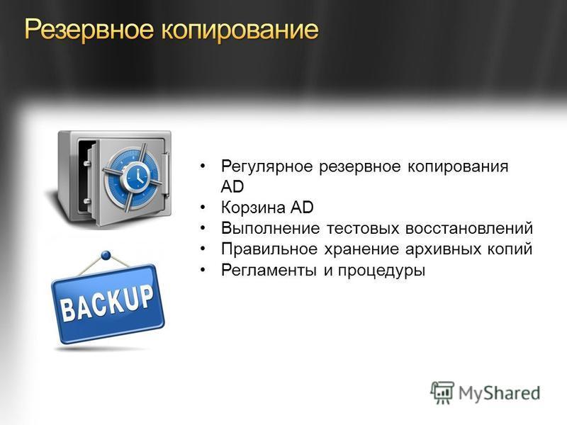 Регулярное резервное копирования AD Корзина AD Выполнение тестовых восстановлений Правильное хранение архивных копий Регламенты и процедуры