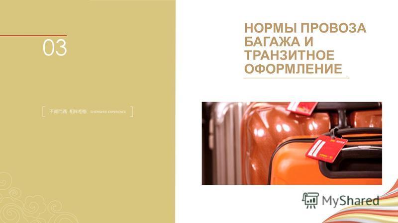НОРМЫ ПРОВОЗА БАГАЖА И ТРАНЗИТНОЕ ОФОРМЛЕНИЕ 03