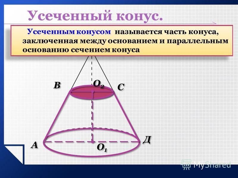 Усеченный конус. Усеченным конусом называется часть конуса, заключенная между основанием и параллельным основанию сечением конуса О1О1 О1О1 О2О2 О2О2 А А В В С С Д Д