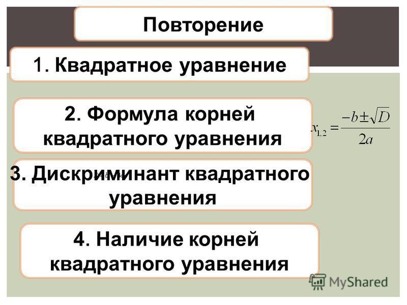 Повторение 1. Квадратное уравнение 2. Формула корней квадратного уравнения 3. Дискриминант квадратного уравнения 4. Наличие корней квадратного уравнения