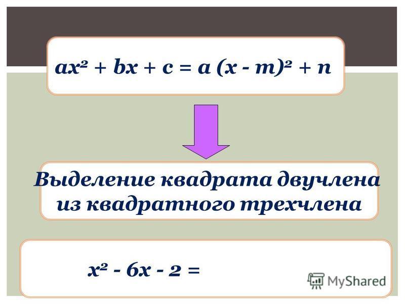 ax 2 + bx + c = a (x - m) 2 + n Выделение квадрата двучлена из квадратного трехчлена х 2 - 6x - 2 = (x - 3) 2 - 11