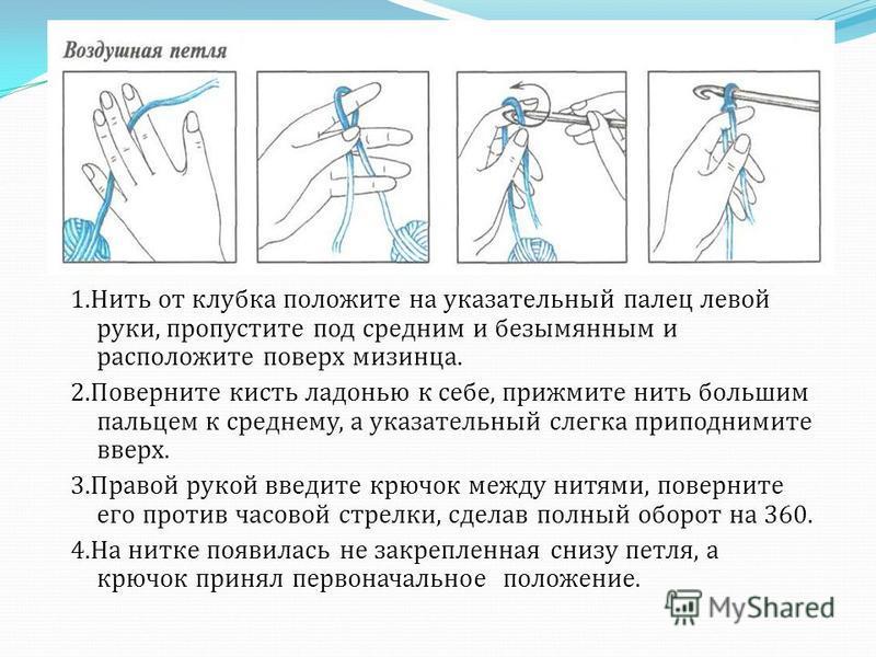 1. Нить от клубка положите на указательный палец левой руки, пропустите под средним и безымянным и расположите поверх мизинца. 2. Поверните кисть ладонью к себе, прижмите нить большим пальцем к среднему, а указательный слегка приподнимите вверх. 3. П