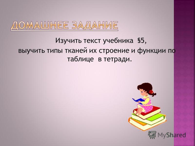 Изучить текст учебника §5, выучить типы тканей их строение и функции по таблице в тетради.