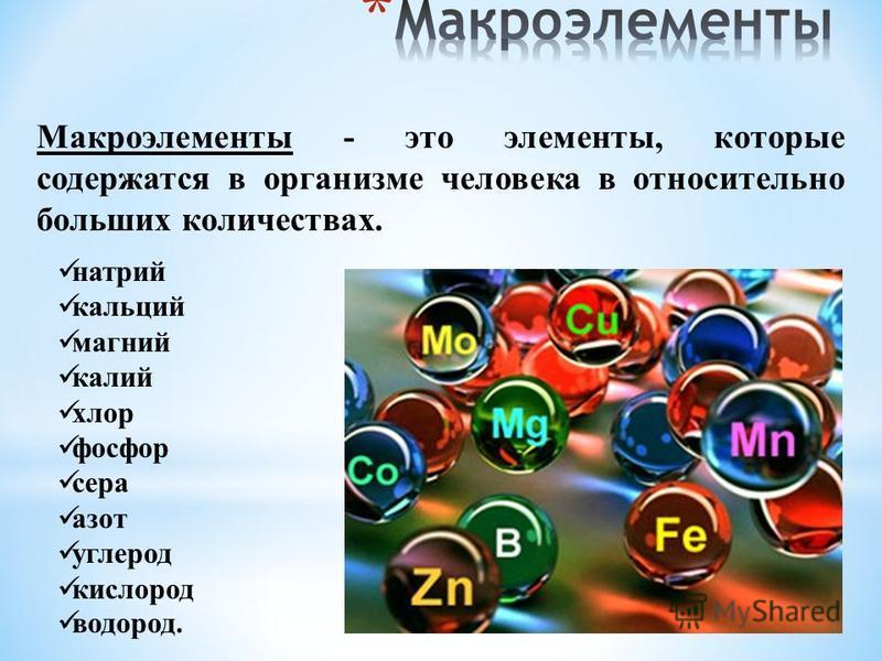 Макроэлементы - это элементы, которые содержатся в организме человека в относительно больших количествах. натрий кальций магний калий хлор фосфор сера азот углерод кислород водород.