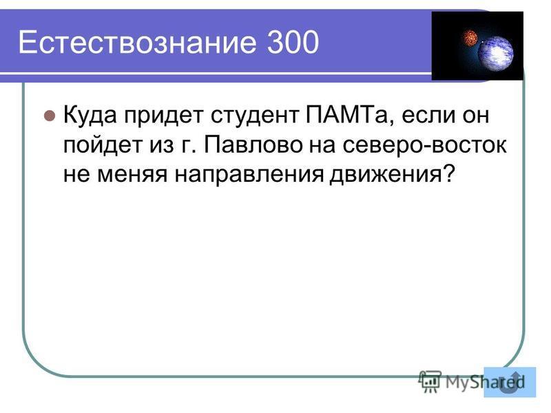 Естествознание 300 Куда придет студент ПАМТа, если он пойдет из г. Павлово на северо-восток не меняя направления движения?