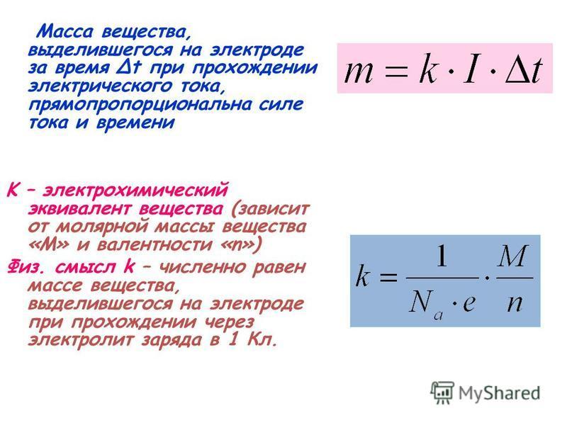 Масса вещества, выделившегося на электроде за время Δt при прохождении электрического тока, прямо пропорциональна силе тока и времени K – электрохимический эквивалент вещества (зависит от молярной массы вещества «М» и валентности «n») Физ. смысл k –