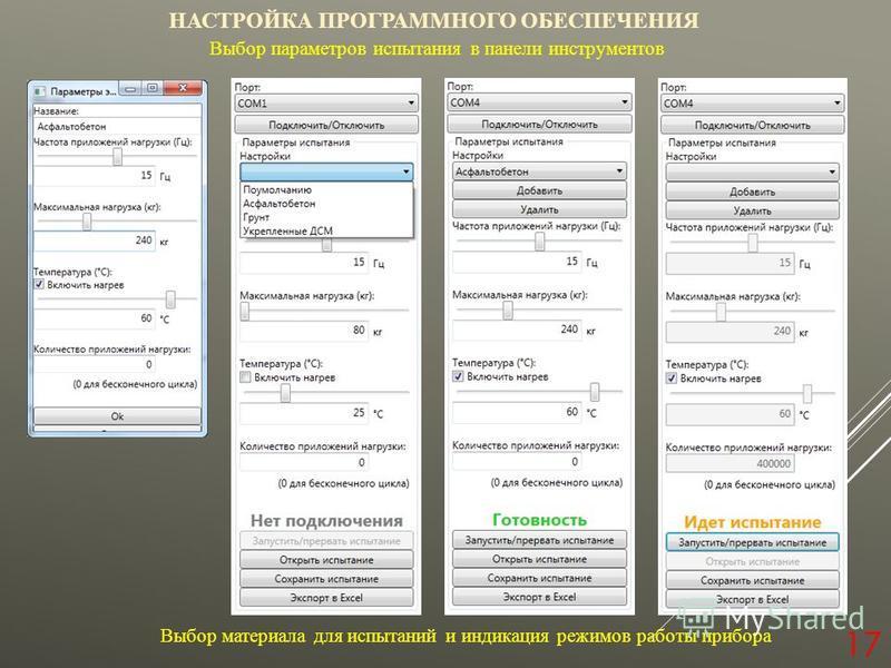 17 НАСТРОЙКА ПРОГРАММНОГО ОБЕСПЕЧЕНИЯ Выбор параметров испытания в панели инструментов Выбор материала для испытаний и индикация режимов работы прибора