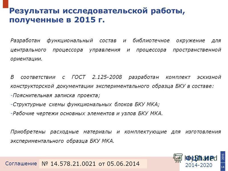 ФЦП ИР 2014-2020 Соглашение Результаты исследовательской работы, полученные в 2015 г. 14 Разработан функциональный состав и библиотечное окружение для центрального процессора управления и процессора пространственной ориентации. В соответствии с ГОСТ