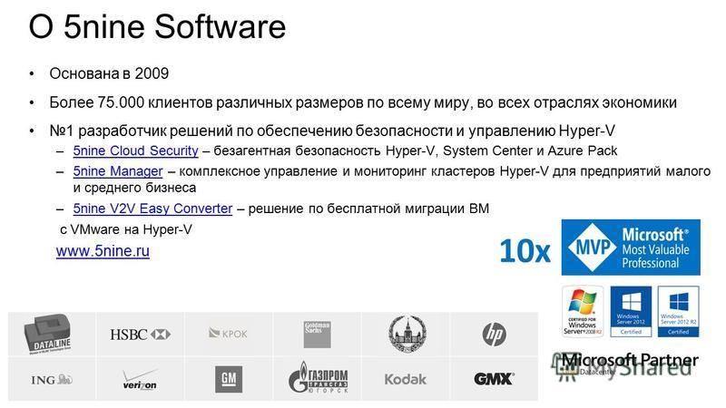 О 5nine Software Основана в 2009 Более 75.000 клиентов различных размеров по всему миру, во всех отраслях экономики 1 разработчик решений по обеспечению безопасности и управлению Hyper-V –5nine Cloud Security – безреагентная безопасность Hyper-V, Sys