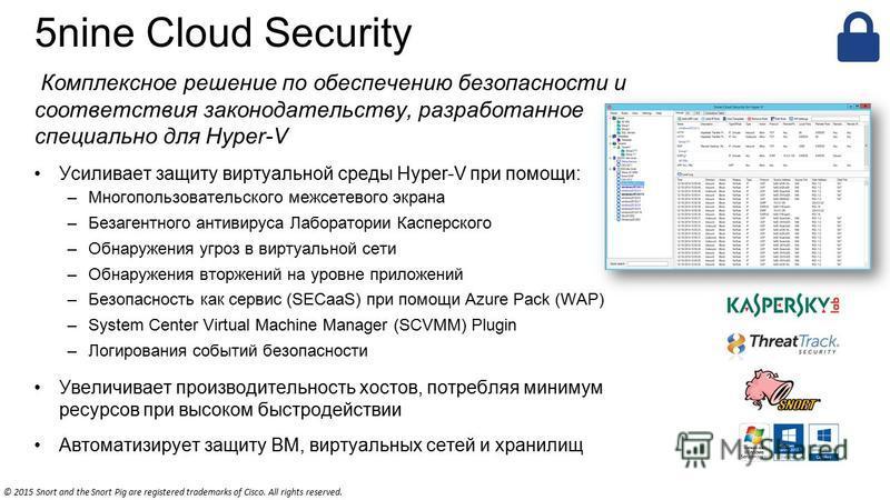 5nine Cloud Security Комплексное решение по обеспечению безопасности и соответствия законодательству, разработанное специально для Hyper-V Усиливает защиту виртуальной среды Hyper-V при помощи: –Многопользовательского межсетевого экрана –Безагентного