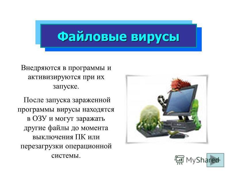 Файловые вирусы Внедряются в программы и активизируются при их запуске. После запуска зараженной программы вирусы находятся в ОЗУ и могут заражать другие файлы до момента выключения ПК или перезагрузки операционной системы.