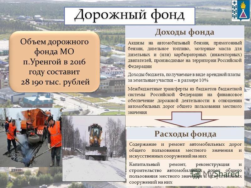 Дорожный фонд Доходы фонда Акцизы на автомобильный бензин, прямогонный бензин, дизельное топливо, моторные масла для дизельных и (или) карбюраторных (инжекторных) двигателей, производимые на территории Российской Федерации Доходы бюджета, получаемые