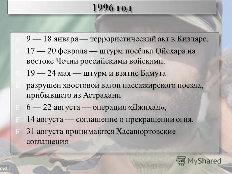 11 9 18 января террористический акт в Кизляре. 17 20 февраля штурм посёлка Ойсхара на востоке Чечни российскими войсками. 19 24 мая штурм и взятие Бамута разрушен хвостовой вагон пассажирского поезда, прибывшего из Астрахани 6 22 августа операция «Дж