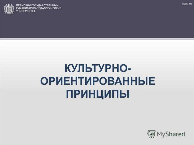 КУЛЬТУРНО- ОРИЕНТИРОВАННЫЕ ПРИНЦИПЫ