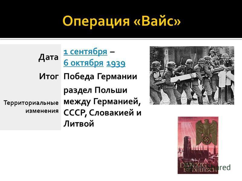 Дата 1 сентября 1 сентября – 6 октября 1939 6 октября 1939 Итог Победа Германии Территориальные изменения раздел Польши между Германией, СССР, Словакией и Литвой