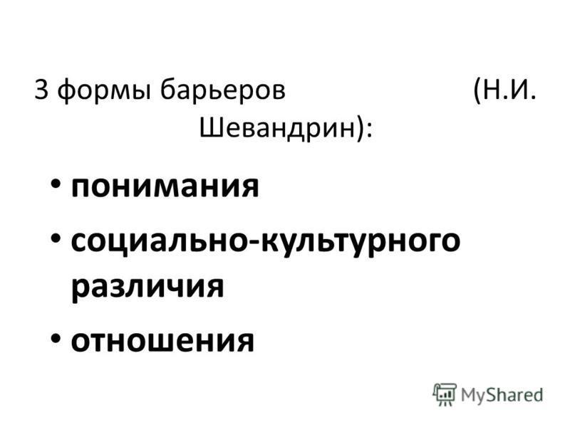 3 формы барьеров (Н.И. Шевандрин): понимания социально-культурного различия отношения