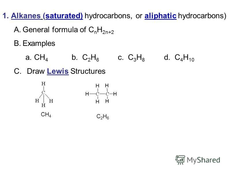 1.Alkanes (saturated) hydrocarbons, or aliphatic hydrocarbons) A.General formula of C n H 2n+2 B.Examples a.CH 4 b. C 2 H 6 c. C 3 H 8 d. C 4 H 10 C. Draw Lewis Structures CH 4 C 2 H 6