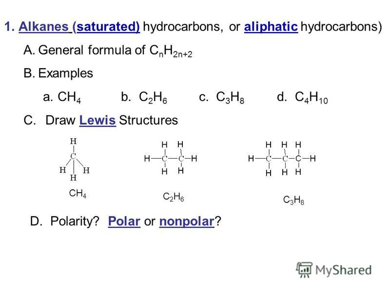 1.Alkanes (saturated) hydrocarbons, or aliphatic hydrocarbons) A.General formula of C n H 2n+2 B.Examples a.CH 4 b. C 2 H 6 c. C 3 H 8 d. C 4 H 10 C. Draw Lewis Structures CH 4 C 2 H 6 C 3 H 8 D. Polarity? Polar or nonpolar?