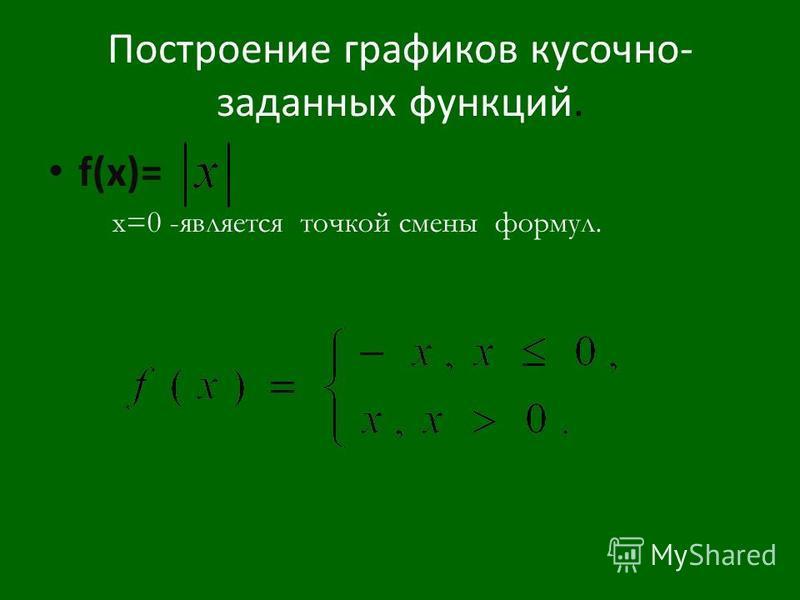 Построение графиков кусочно- заданных функций. f(x)= x=0 -является точкой смены формул.
