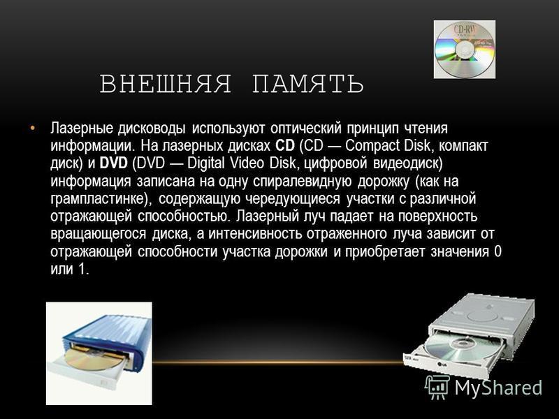 ВНЕШНЯЯ ПАМЯТЬ Лазерные дисководы используют оптический принцип чтения информации. На лазерных дисках CD (CD Compact Disk, компакт диск) и DVD (DVD Digital Video Disk, цифровой видеодиск) информация записана на одну спиралевидную дорожку (как на грам