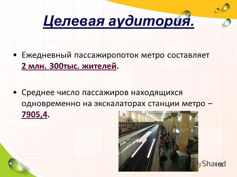 116 Целевая аудитория. Ежедневный пассажиропоток метро составляет 2 млн. 300 тыс. жителей. Среднее число пассажиров находящихся одновременно на экскалаторах станции метро – 7905,4.
