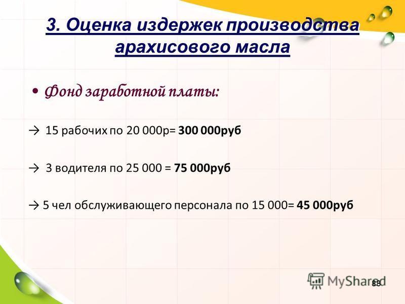 88 3. Оценка издержек производства арахисового масла Фонд заработной платы: 15 рабочих по 20 000 р= 300 000 руб 3 водителя по 25 000 = 75 000 руб 5 чел обслуживающего персонала по 15 000= 45 000 руб