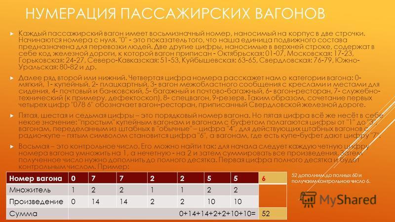 НУМЕРАЦИЯ ПАССАЖИРСКИХ ВАГОНОВ Каждый пассажирский вагон имеет восьмизначный номер, наносимый на корпус в две строчки. Начинаются номера с нуля.