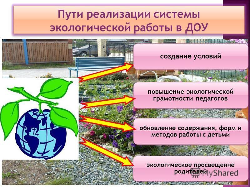 Пути реализации системы экологической работы в ДОУ создание условий повышение экологической грамотности педагогов обновление содержания, форм и методов работы с детьми экологическое просвещение родителей