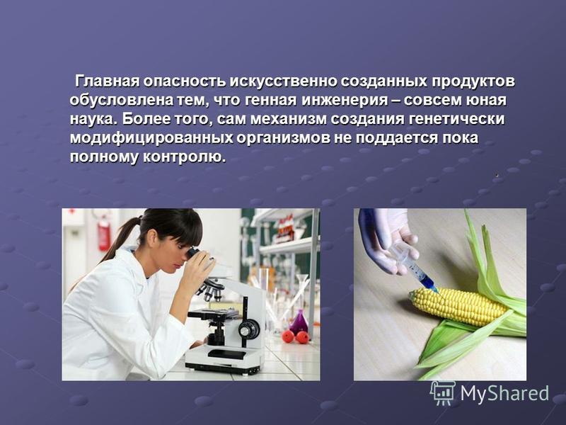 Главная опасность искусственно созданных продуктов обусловлена тем, что генная инженерия – совсем юная наука. Более того, сам механизм создания генетически модифицированных организмов не поддается пока полному контролю. Главная опасность искусственно
