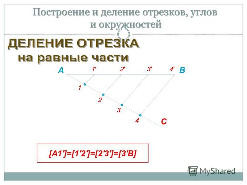 АВ С 1 2 4 3 2'2' 1'1' 3'3' 4'4' [А1']=[1'2']=[2'3']=[3'В] Построение и деление отрезков, углов и окружностей