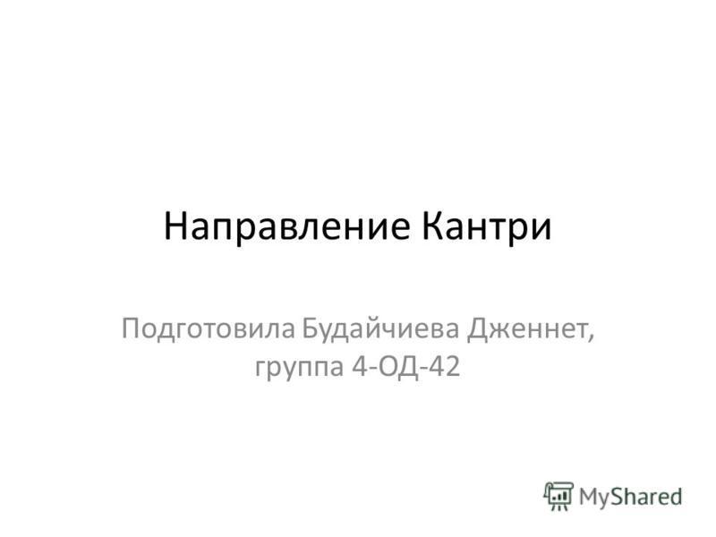 Направление Кантри Подготовила Будайчиева Дженнет, группа 4-ОД-42