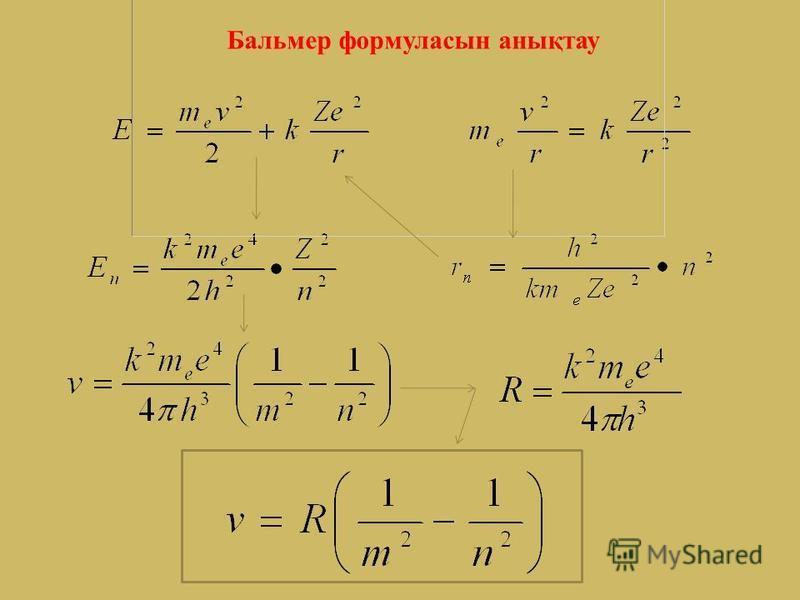 Бордың бірінші постулаты бойынша атомда электрондардың белгілі бір стационар орбиталары бар. Электрон үшін Ньютонның 2-ші заңы мен Кулон күшін теңестірсек: (1) өрнектен жылдамдықты тауып осы өрнекке қойсақ: n=1, Z=1 болса, сутегі атомындағы электронн