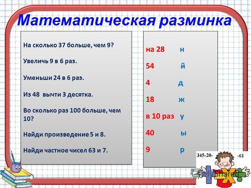 Математическая разминка На сколько 37 больше, чем 9? Увеличь 9 в 6 раз. Уменьши 24 в 6 раз. Из 48 вычти 3 десятка. Во сколько раз 100 больше, чем 10? Найди произведение 5 и 8. Найди частное чисел 63 и 7. На сколько 37 больше, чем 9? Увеличь 9 в 6 раз