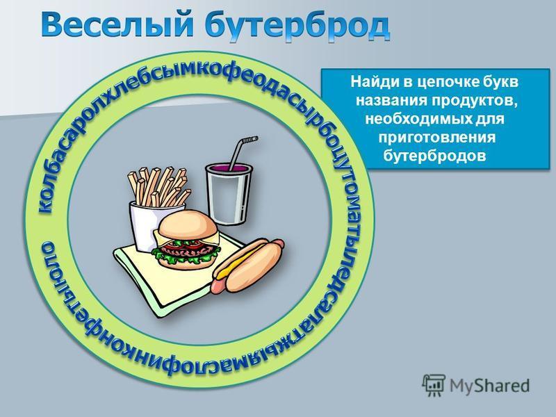 Найди в цепочке букв названия продуктов, необходимых для приготовления бутербродов
