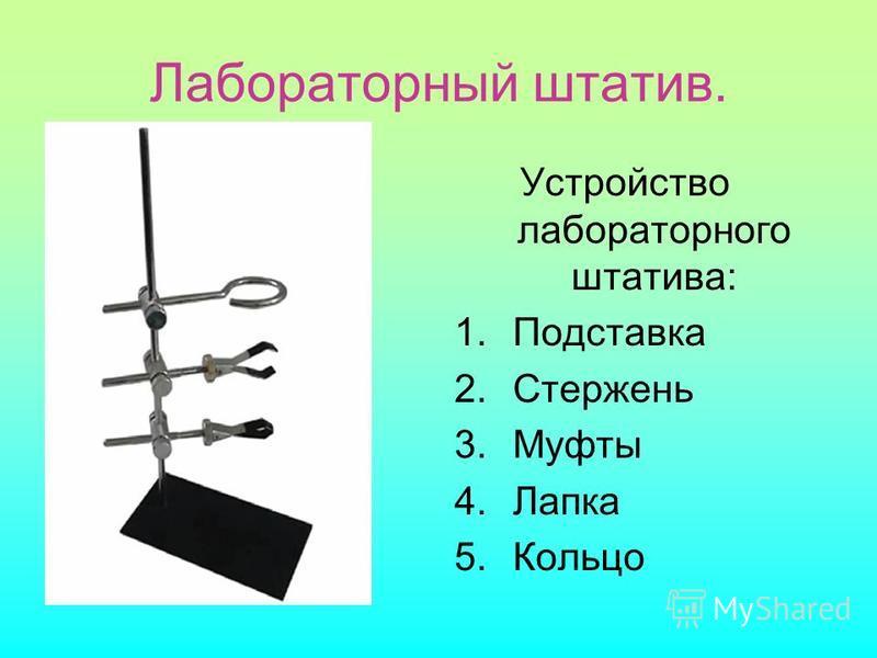 Лабораторный штатив. Устройство лабораторного штатива: 1. Подставка 2. Стержень 3. Муфты 4. Лапка 5.Кольцо