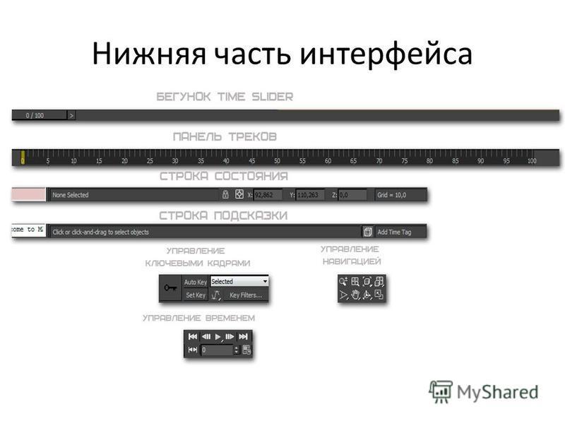 Нижняя часть интерфейса