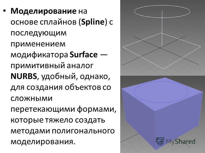 Моделирование на основе сплайнов (Spline) с последующим применением модификатора Surface примитивный аналог NURBS, удобный, однако, для создания объектов со сложными перетекающими формами, которые тяжело создать методами полигонального моделирования.