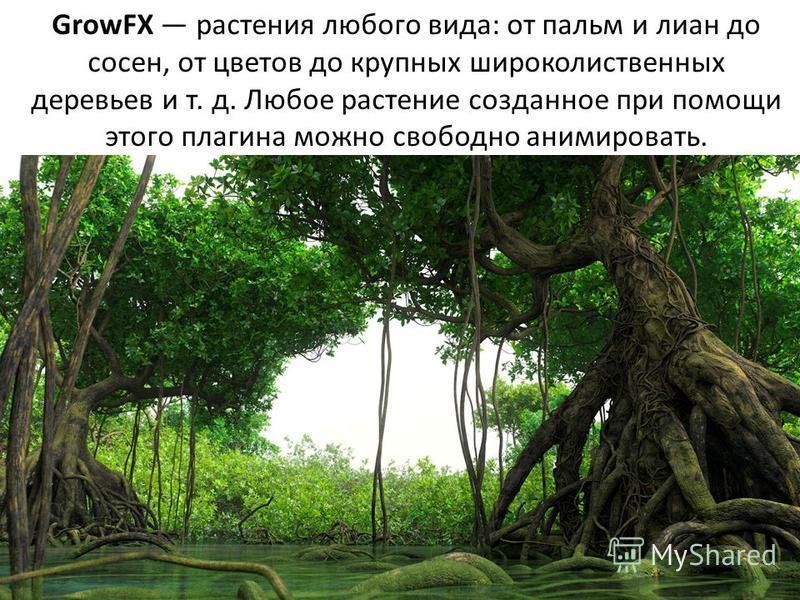 GrowFX растения любого вида: от пальм и лиан до сосен, от цветов до крупных широколиственных деревьев и т. д. Любое растение созданное при помощи этого плагина можно свободно анимировать.