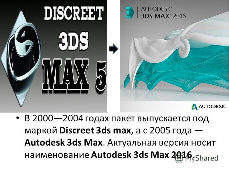 В 20002004 годах пакет выпускается под маркой Discreet 3ds max, а с 2005 года Autodesk 3ds Max. Актуальная версия носит наименование Autodesk 3ds Max 2016.