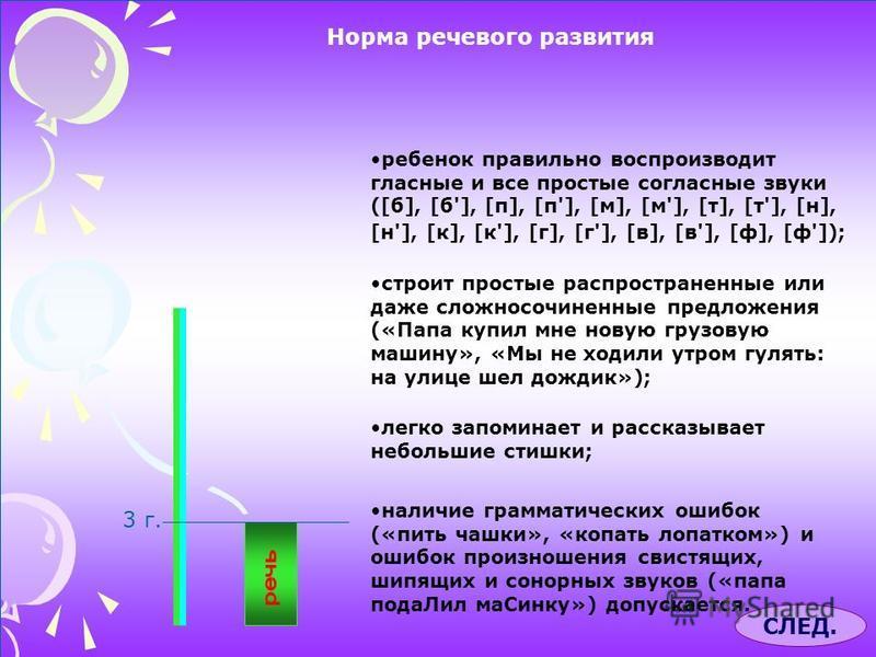 Норма речевого развития 3 г. ребенок правильно воспроизводит гласные и все простые согласные звуки ([б], [б'], [п], [п'], [м], [м'], [т], [т'], [н], [н'], [к], [к'], [г], [г'], [в], [в'], [ф], [ф']); строит простые распространенные или даже сложносоч
