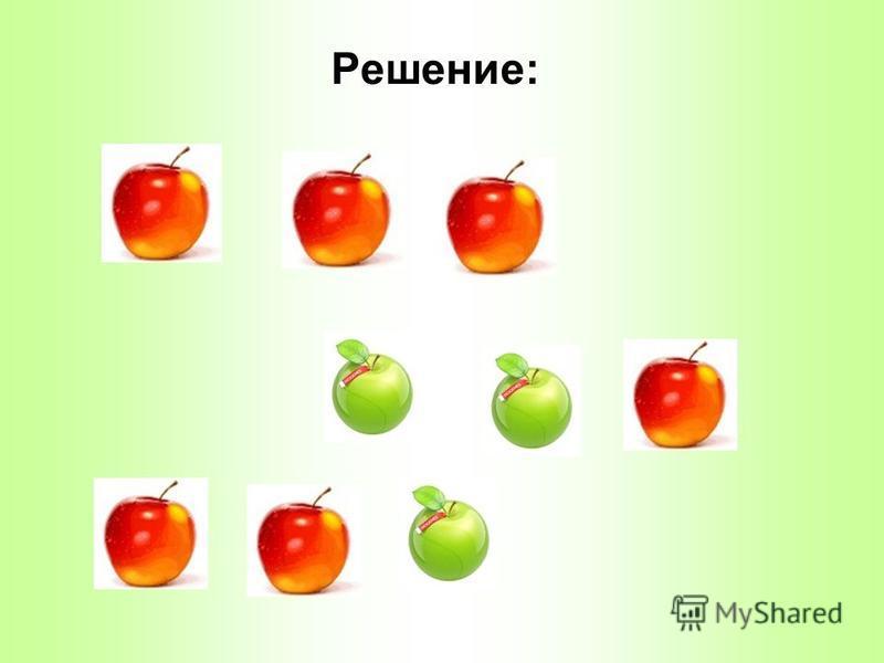 Задача Задача У Миши 6 яблок. Из них 4 красных и 2 зеленых. Миша съел 3 яблока. Какого цвета могли быть яблоки? Сколько вариантов у тебя получилось?