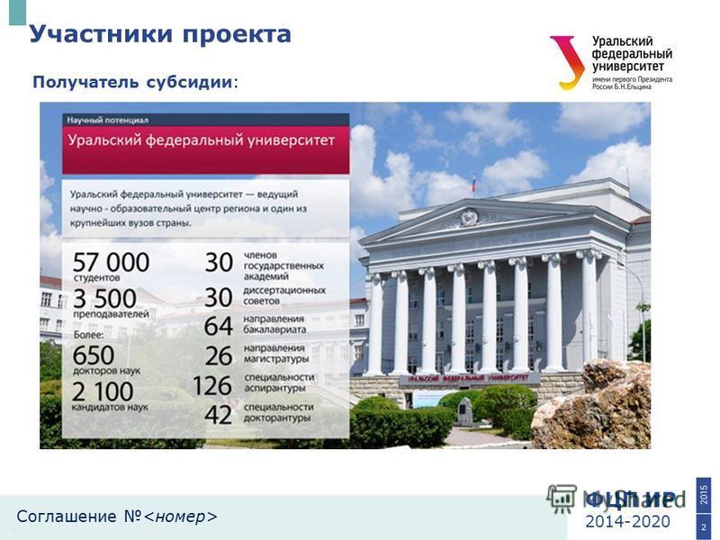 ФЦП ИР 2014-2020 Соглашение Участники проекта 2 Получатель субсидии:
