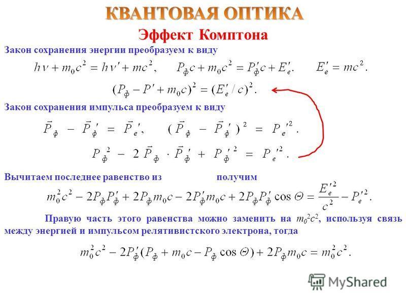 Эффект Комптона Закон сохранения энергии преобразуем к виду Закон сохранения импульса преобразуем к виду Вычитаем последнее равенство изполучим Правую часть этого равенства можно заменить на m 0 2 c 2, используя связь между энергией и импульсом релят