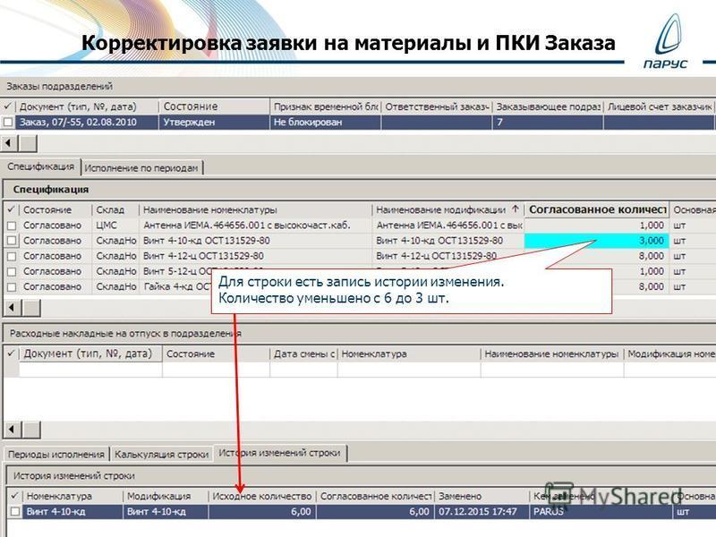 Корректировка заявки на материалы и ПКИ Заказа Для строки есть запись истории изменения. Количество уменьшено с 6 до 3 шт.