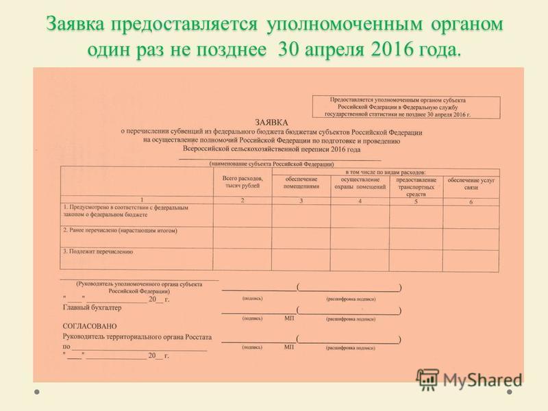 Заявка предоставляется уполномоченным органом один раз не позднее 30 апреля 2016 года.