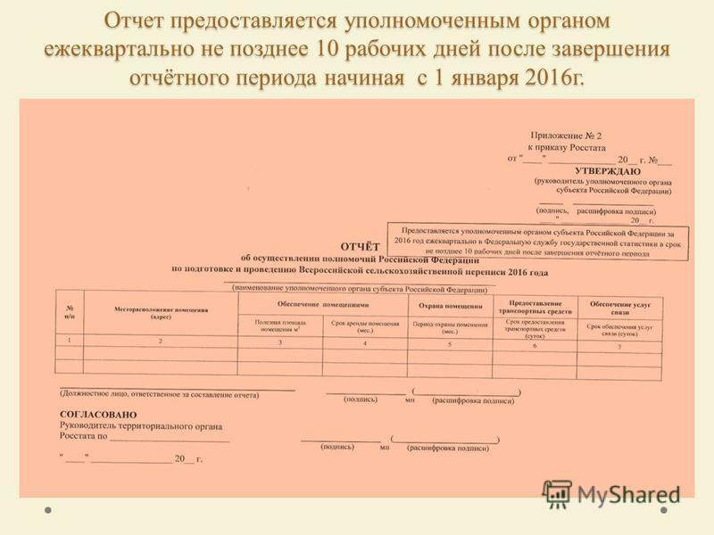 Отчет предоставляется уполномоченным органом ежеквартально не позднее 10 рабочих дней после завершения отчётного периода начиная с 1 января 2016 г.