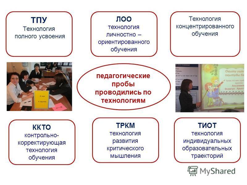 педагогические пробы проводились по технологиям ТРКМ технология развития критического мышления ТИОТ технология индивидуальных образовательных траекторий ТПУ Технология полного усвоения ККТО контрольно- корректирующая технология обучения ЛОО технологи