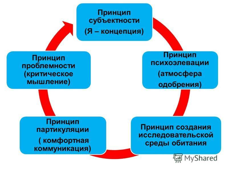 Принцип субъектности (Я – концепция) Принцип психоэлевации (атмосфера одобрения) Принцип создания исследовательской среды обитания Принцип партикуляции ( комфортная коммуникация) ( комфортная коммуникация) Принцип проблемности (критическое мышление)